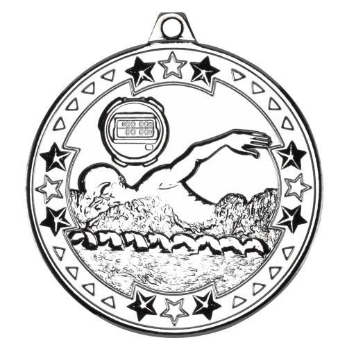 Swimming 'Tri Star' Medal - Silver 2in