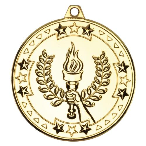 Victory Torch 'Tri Star' Medal - Gold 2in