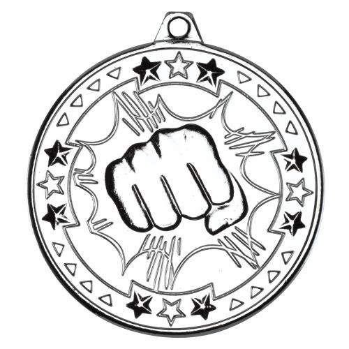 Martial Arts 'Tri Star' Medal - Silver 2in
