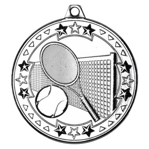 Tennis 'Tri Star' Medal - Silver 2in