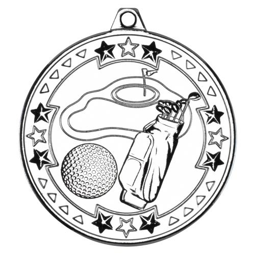 Golf 'Tri Star' Medal - Silver 2in