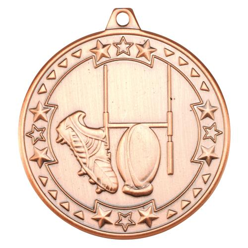 Rugby 'Tri Star' Medal - Bronze 2in