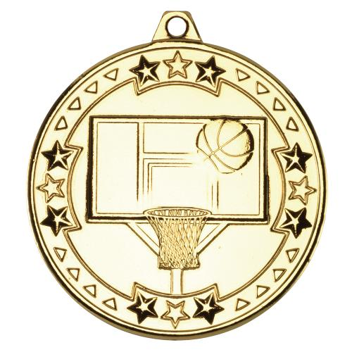 Basketball 'Tri Star' Medal - Gold 2in
