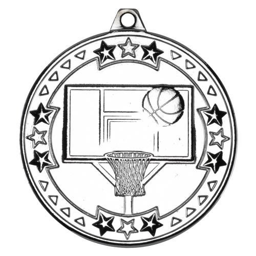Basketball 'Tri Star' Medal - Silver 2in