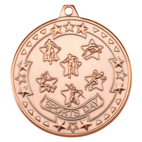 Sports Day 'Tri Star' Medal - Bronze 2in