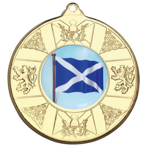 Scotland Medal - Gold (1in Centre) 2in
