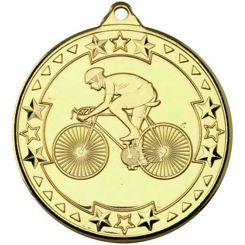 Cycling 'Tri Star' Medal - Gold 50mm