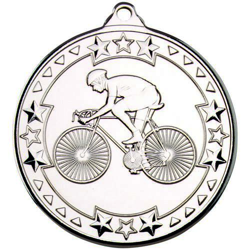 Cycling 'Tri Star' Medal - Silver 50mm