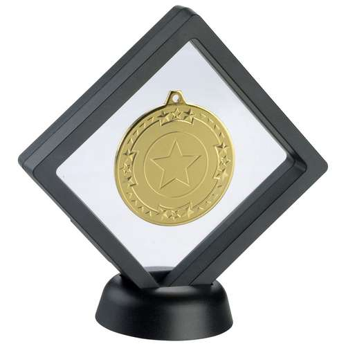 BLACK/CLEAR PLASTIC MEDAL BOX WITH STAND - 5in