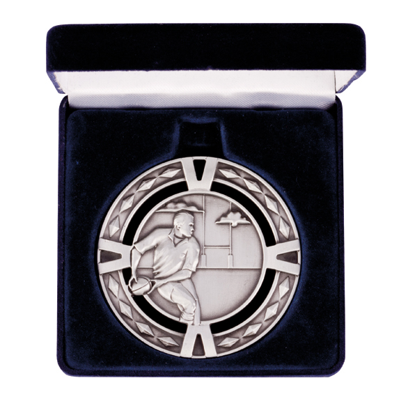 Rugby V-Series Medal & Box Silver 60mm