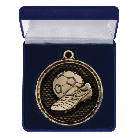 Power Boot Football Medal & Box Gold 50mm