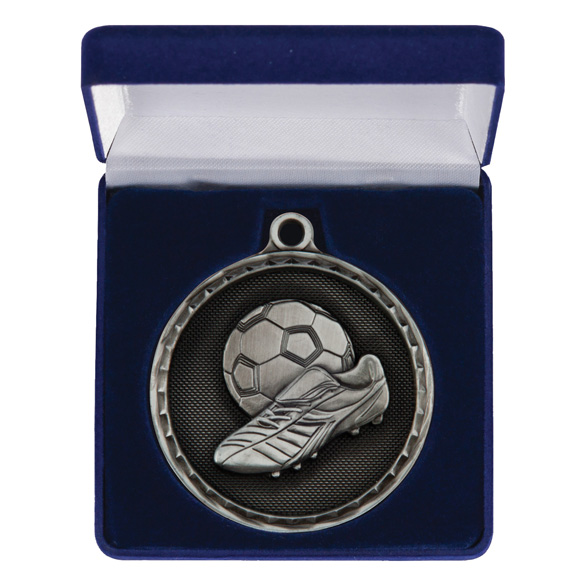 Power Boot Football Medal & Box Silver 50mm