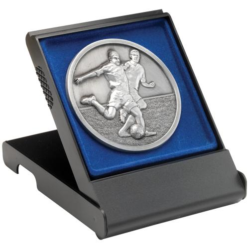 Black Medal Box - Large (Flat Blue insert) 4.75in