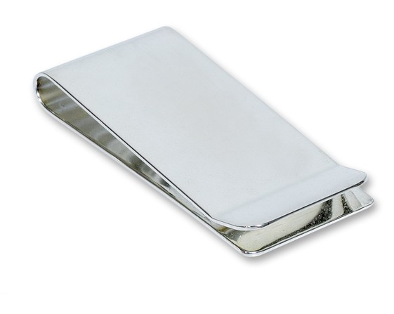 Large Silver Plated Engraved Money Clip