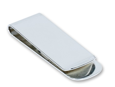 Straight Silver Plated Engraved Money Clip