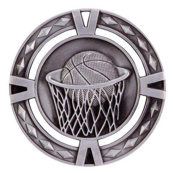 V-Tech Series Medal - Basketball Silver 60mm
