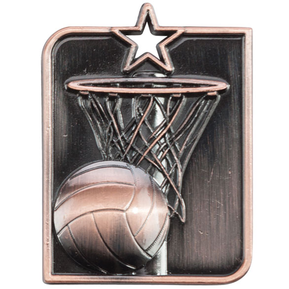 Centurion Star Series Netball Medal Bronze 53x40mm