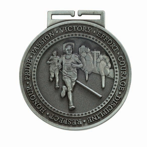 Olympia Running Medal Antique Silver 60mm