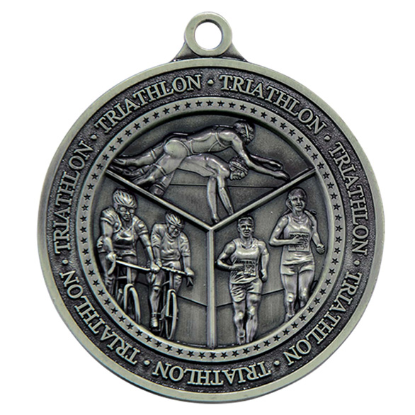 Olympia Triathlon Medal Antique Silver 60mm