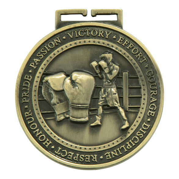 Olympia Boxing Medal Antique Gold 70mm
