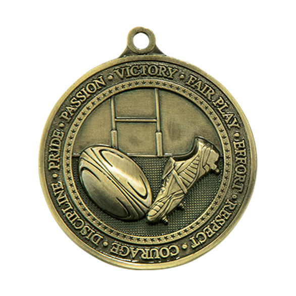Olympia Rugby Medal Antique Gold 60mm