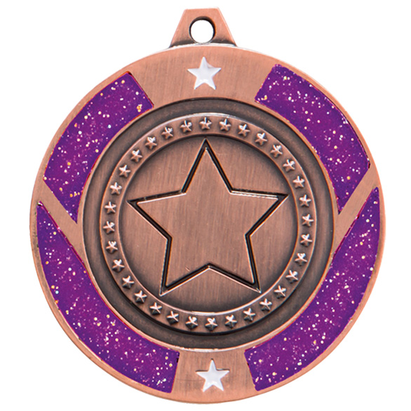 Glitter Star Medal Bronze & Purple 50mm