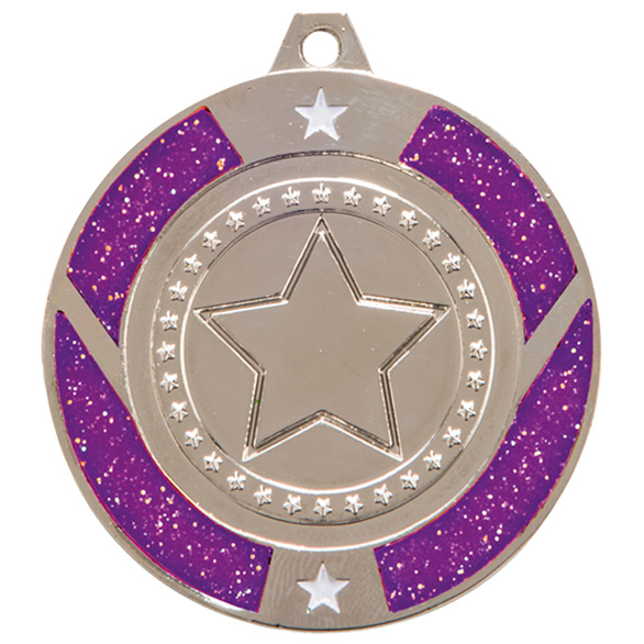 Glitter Star Medal Silver & Purple 50mm