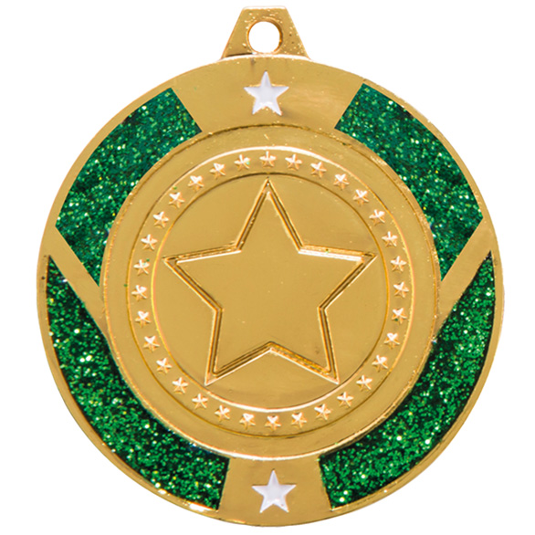 Glitter Star Medal Gold & Green 50mm
