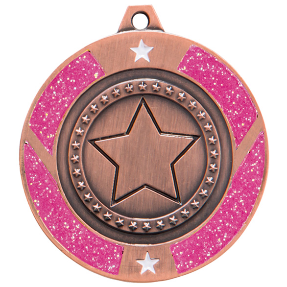 Glitter Star Medal Bronze & Pink 50mm
