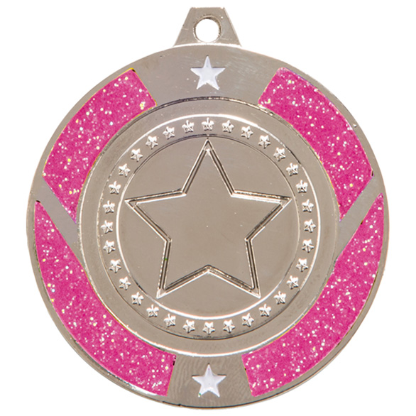 Glitter Star Medal Silver & Pink 50mm