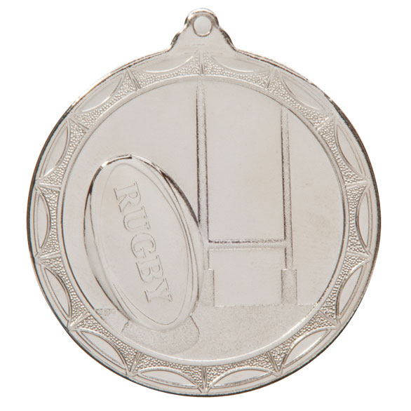 Economy Rugby Medal Silver 50mm