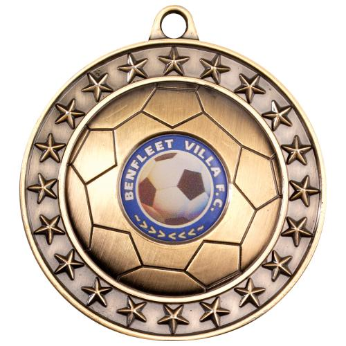 Football Medal - Antique Gold (1in Centre) 2.75in