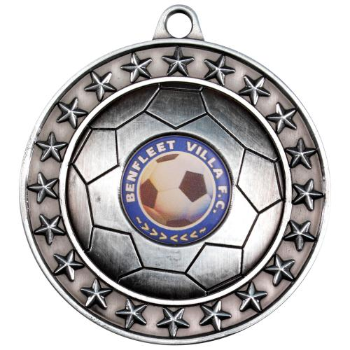 Football Medal - Antique Silver (1in Centre) 2.75in