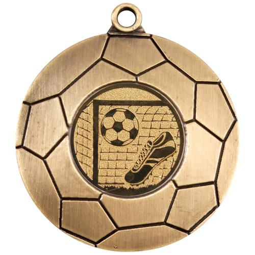 Domed Football Medal - Antique Gold (1in Centre) 2in