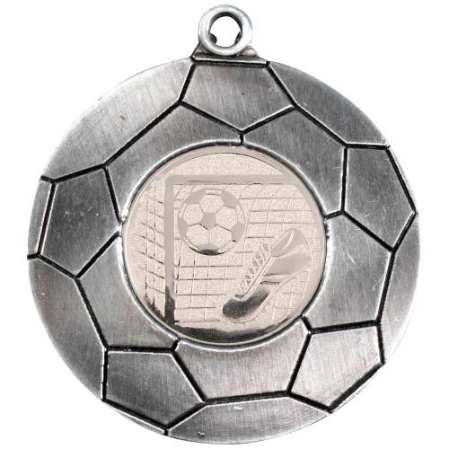 Domed Football Medal - Antique Silver (1in Centre) 2in