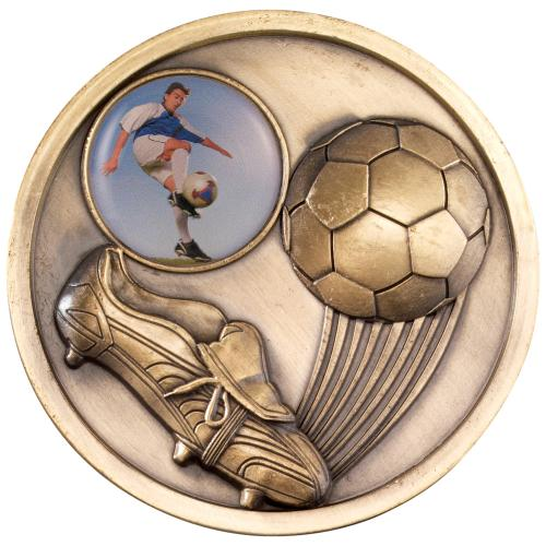 Football+Boot Medallion - Antique Gold (1in Centre) 2.75in