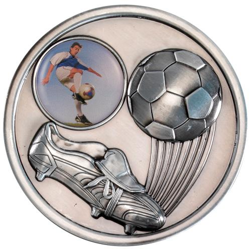 Football+Boot Medallion - Antique Silver (1in Centre) 2.75in