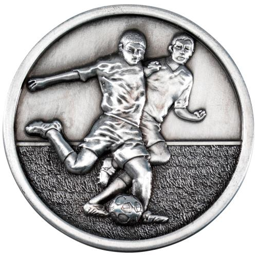 Football Players Medallion - Antique Silver 2.75in