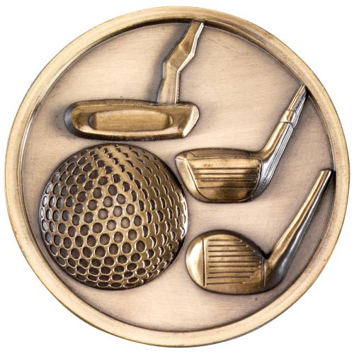 Golf Clubs Medallion - Antique Gold 2.75in