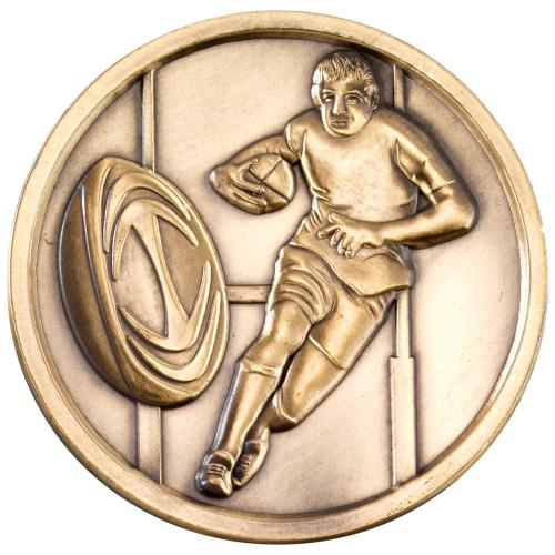 Rugby Medallion - Antique Gold 2.75in