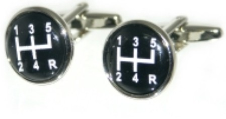 Black Gear Stick Novelty Cufflinks