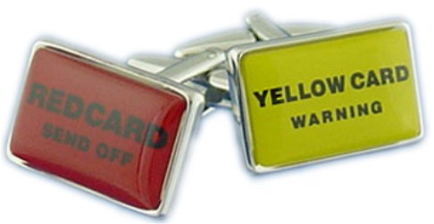 Red & Yellow Card Novelty Cufflinks
