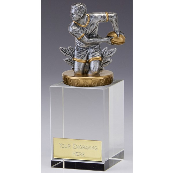 3D Rugby Crystal Block Trophy