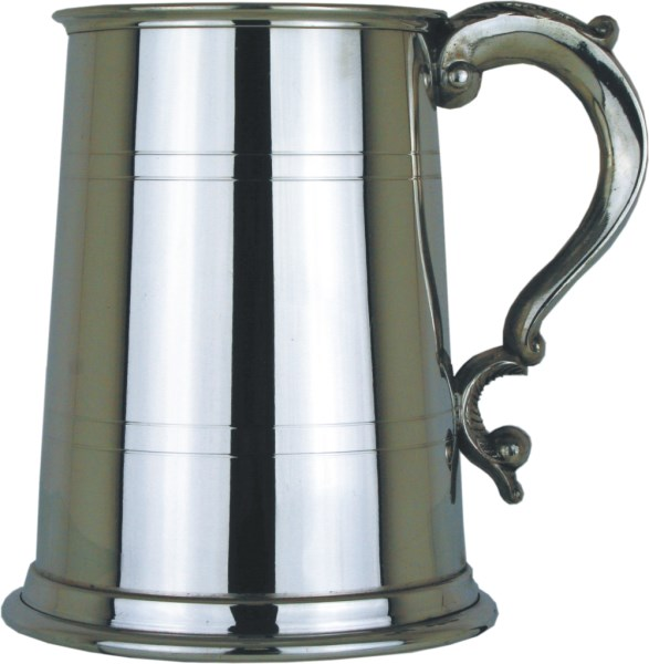 Georgian Handle Straight 1pt Pewter Tankard