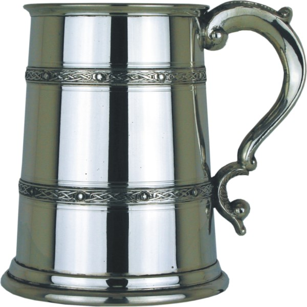 1pt Polished Finish Pewter Tankard with Celtic Bands