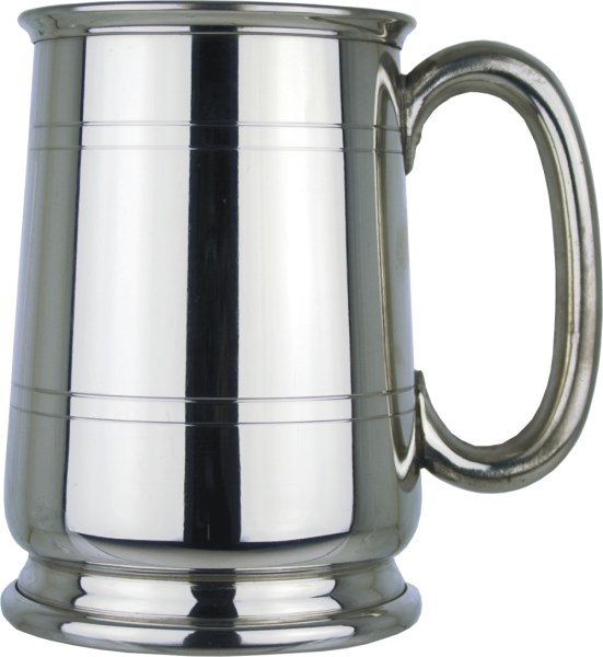 1pt Polished Finish Cavalier Style Pewter Tankard with Stripes