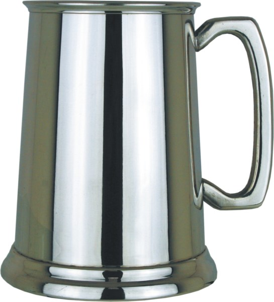 1pt Polished Finish Glass Base Pewter Tankard