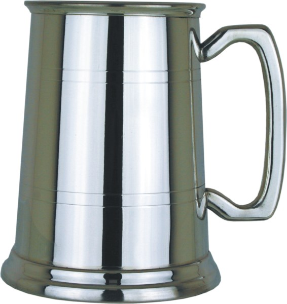 1pt Polished Finish Glass Base Pewter Tankard With Stripes