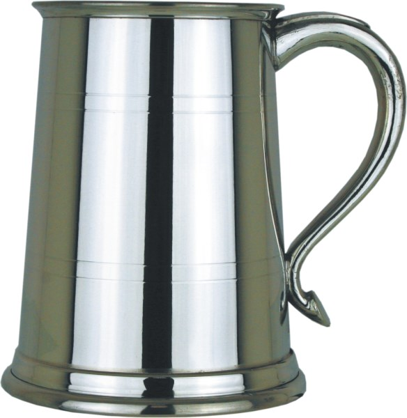 Swan Handled Straight 1pt Pewter Tankard