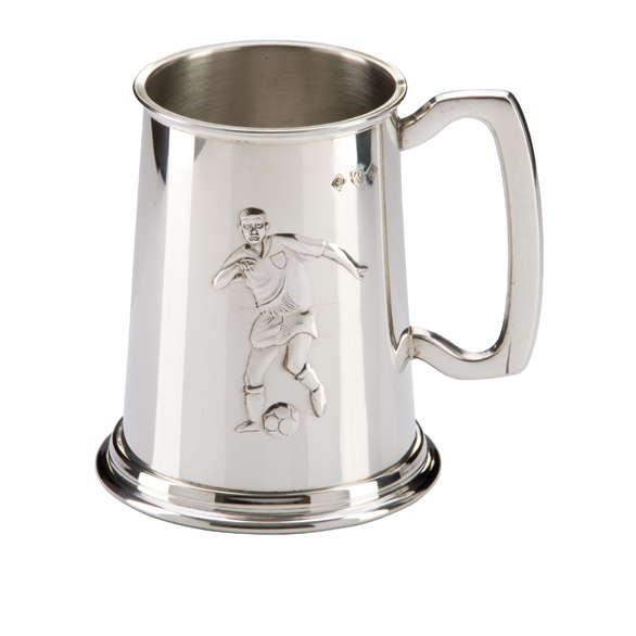 English Pewter Football Tankard 125mm 1pt